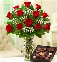 Rose Elegance in Red with Chocolate - 12